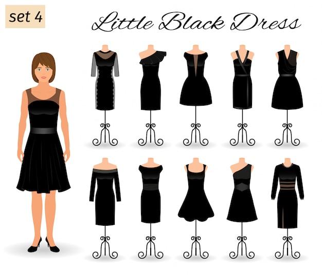 Stylich женщина персонаж в маленьком черном платье. набор вечерних платьев для коктейля на манекенах.