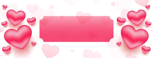 Styligh 3d valentines day hearts banner with text space
