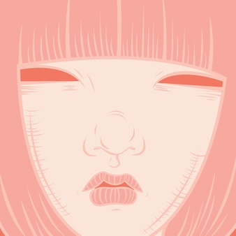 Stylised portrait of a girl with bob cut hair in rose quartz color palette