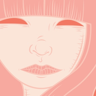 Stylised portrait of a girl with long hair in rose quartz color palette