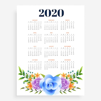 Stylish 2020 new year vertical flower template design