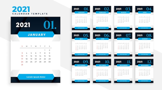 Stylish 2021 blue business modern calendar design template