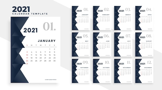 Elegante design moderno del calendario 2021 in bianco e nero