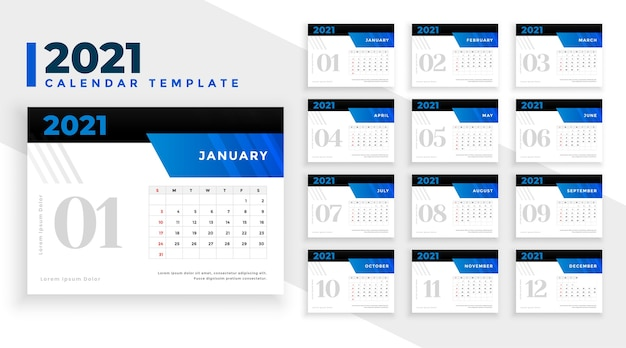 Stylish 2021 new year calendar template in blue color theme
