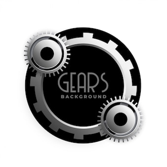 Stylish 3d metallic gears frame design