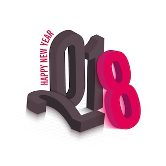 Stylish 3D text 2018 in grey and pink color.