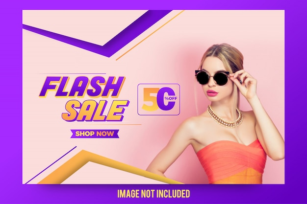 Stylish abstract flash sale offer banner design