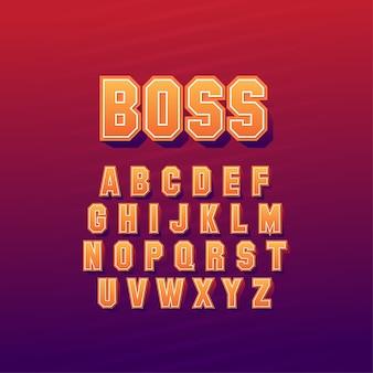 세련된 추상 글꼴 스타일 세트 디자인