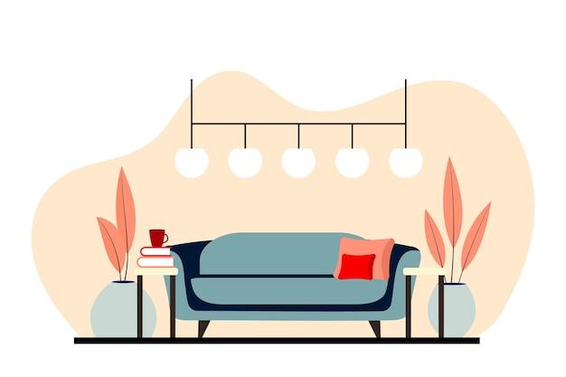 モダンな装飾が施されたスカンジナビアスタイルのスタイリッシュなアパートメントインテリア。居心地の良い家具付きのリビングルーム。漫画フラットベクトルイラスト。屋内植物を備えた明るくスタイリッシュで快適な家具。 Premiumベクター