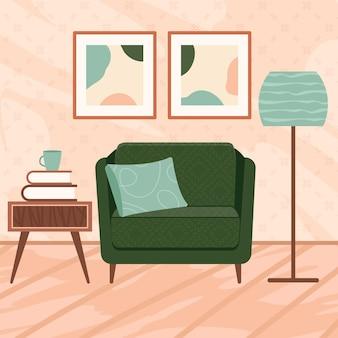 モダンな装飾が施されたスカンジナビアスタイルのスタイリッシュなアパートメントインテリア。居心地の良い家具付きのリビングルーム。漫画フラットベクトルイラスト。屋内植物を備えた明るくスタイリッシュで快適な家具。