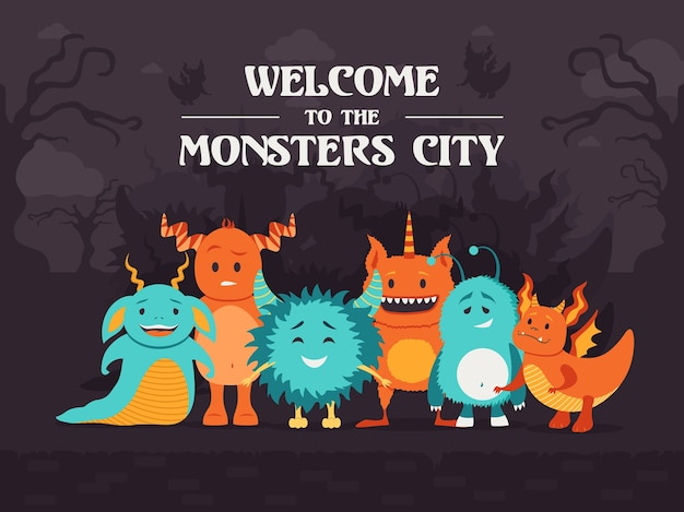 Stylish background design with cute monsters standing in creepy forest. welcome to monsters city. celebration and halloween concept. template for promotional or invitation card