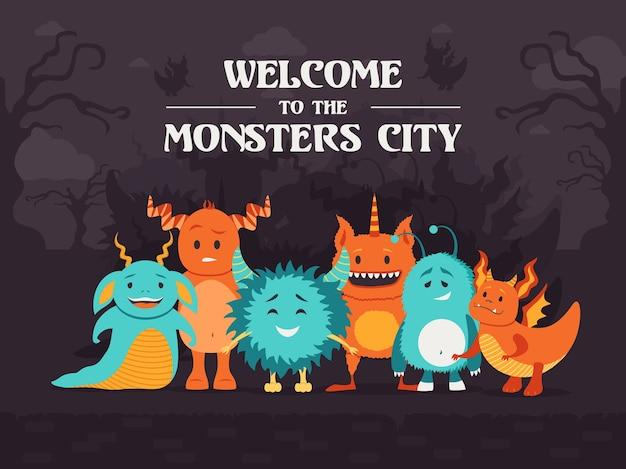 소름 끼치는 숲에 서있는 귀여운 괴물과 세련된 배경 디자인. 몬스터 시티에 오신 것을 환영합니다. 축하와 할로윈 개념입니다. 홍보 또는 초대 카드 템플릿