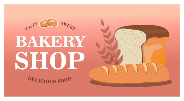 Stylish bakery shop design with fresh bread. web page with tasty pastry. delicious food and confectionery concept