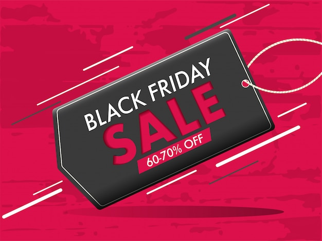 Stylish banner design, sale tag with 60-70% discount offer for black friday concept.