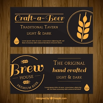 Stylish banners of a traditional tavern