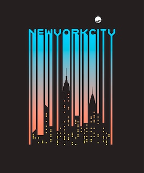 Stylish barcode text of new york city with windows