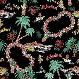 スタイリッシュな美しい夏の島のシームレスなパターン手描きスタイルヤシの木のある風景