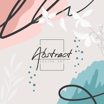 Stylish beauty background with organic abstract shapes, line in nude pastel colors.