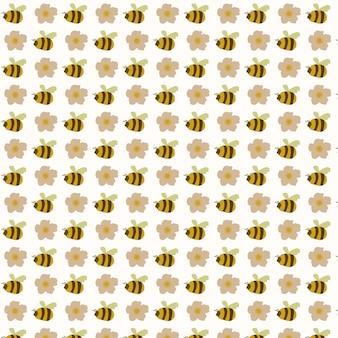 Стильная пчела и цветы бесшовные модели векторный фон старинный декоративный элемент