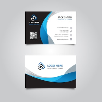 Stylish black & blue wavy business card