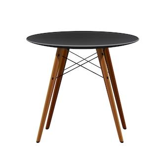 나무 다리가있는 세련된 검은 색 의자 주방 현대 의자 프리미엄 벡터