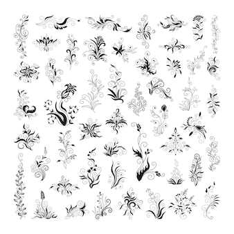 Stylish black floral ornaments for creating tattoos, prints, cards, stickers.