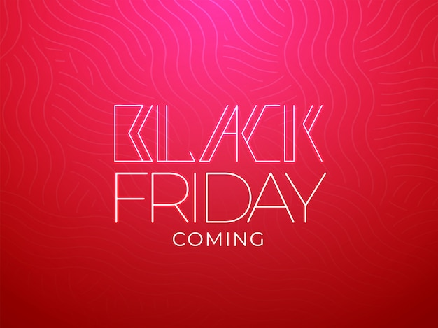 Stylish black friday coming message text on red wave seamless background.