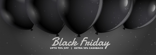 Stylish black friday sale banner with realistic balloons