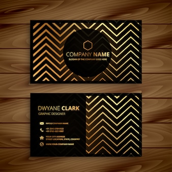 Stylish black and golden zigzag shapes business card