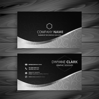 Stylish black and gray wave business card