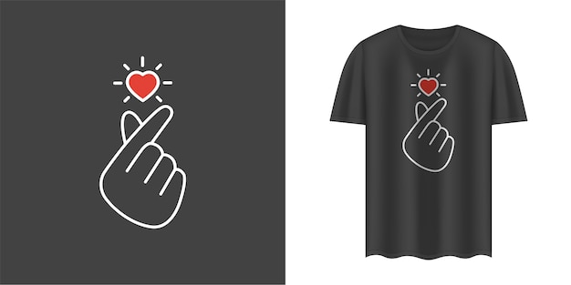 Стильная черная футболка с корейским знаком любви
