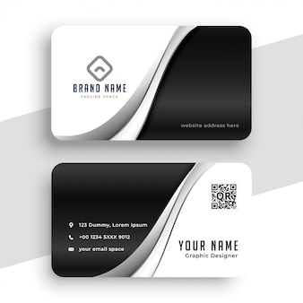 Stylish black and white wavy business card design