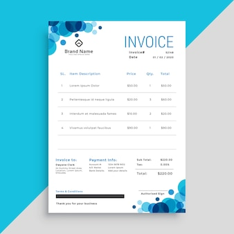 Stylish blue circles business invoice template