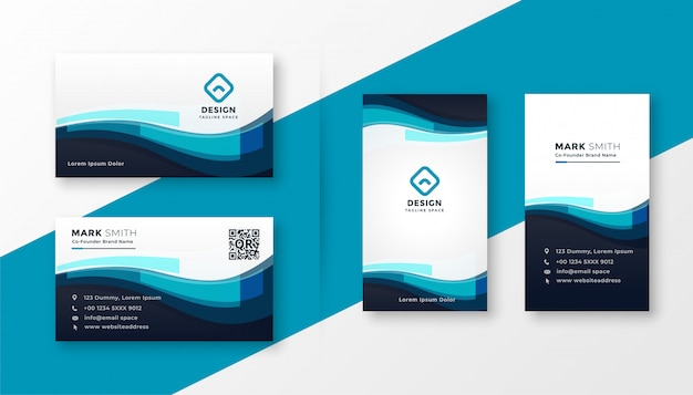 Stylish blue corporate business card