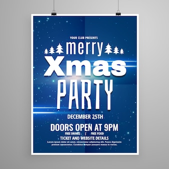 Stylish blue merry christmas flyer design template with holiday typography