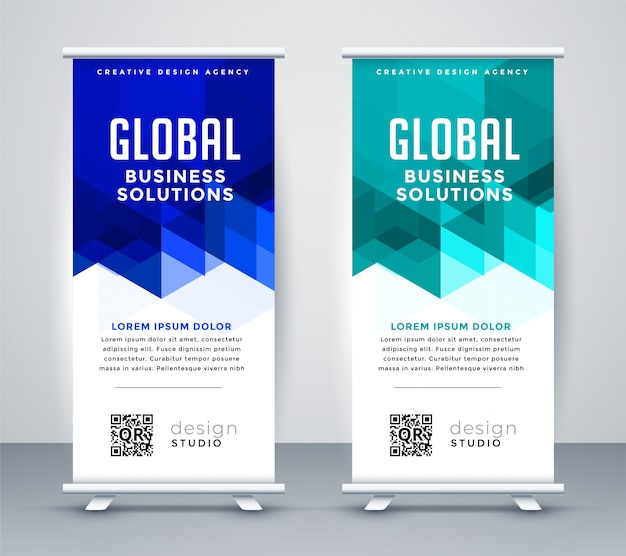 Stylish blue modern rollup banner set