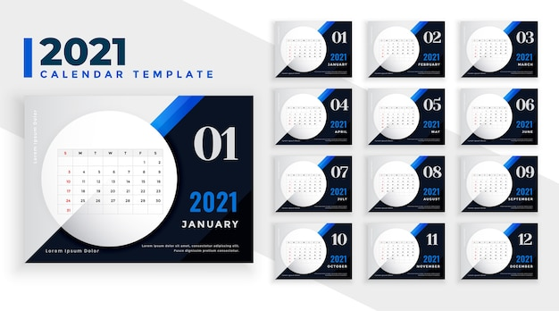 Stylish blue  new year calendar template