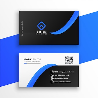 Стильный синий шаблон профессиональной визитки