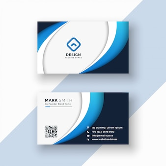 Stylish blue wave business card design template