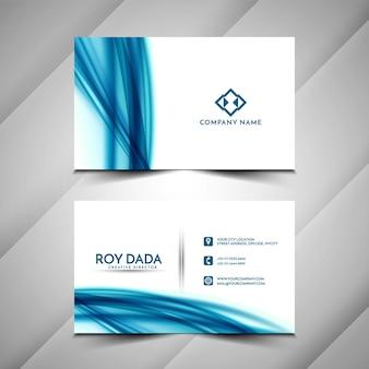スタイリッシュな青い波の名刺テンプレートデザイン