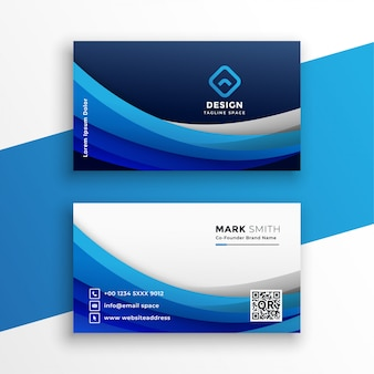 Stylish blue wavy business card modern template