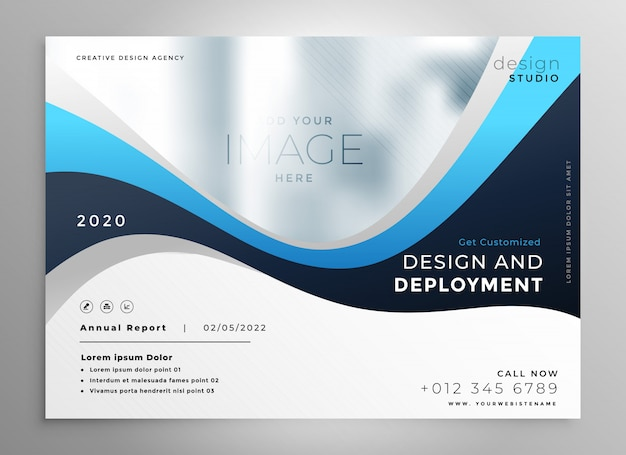 Stylish blue wavy business presentation banner