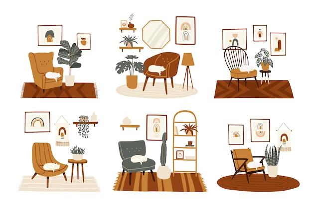 편안한 안락 의자, 집 식물 및 고양이가 다른 세련된 보헤미안 인테리어 세트. boho 스타일 세트의 아늑한 거실