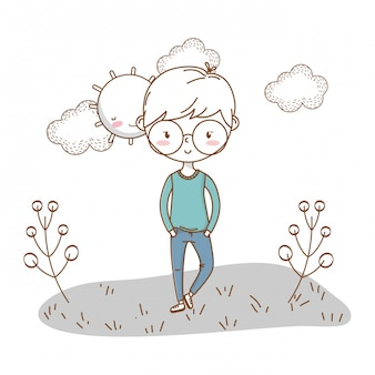 Stylish boy cartoon outfit nature clouds