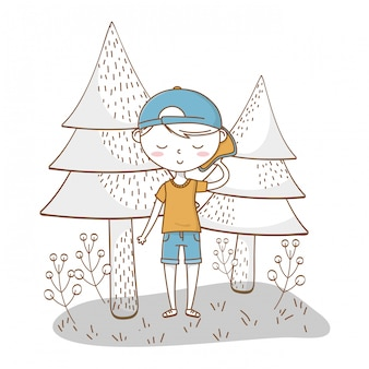 Stylish boy cartoon outfit nature