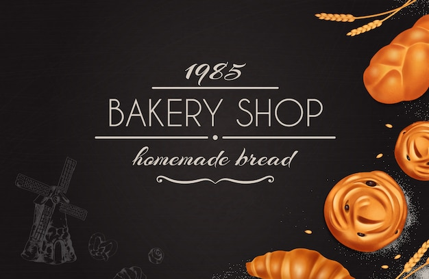 Стильная хлебопекарная реалистичная композиция с пекарней, домашний хлеб, заголовок на черном фоне