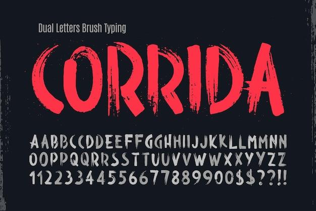 Стильная кисть нарисовала прописные двойные буквы алфавита, шрифт оригинальная текстура