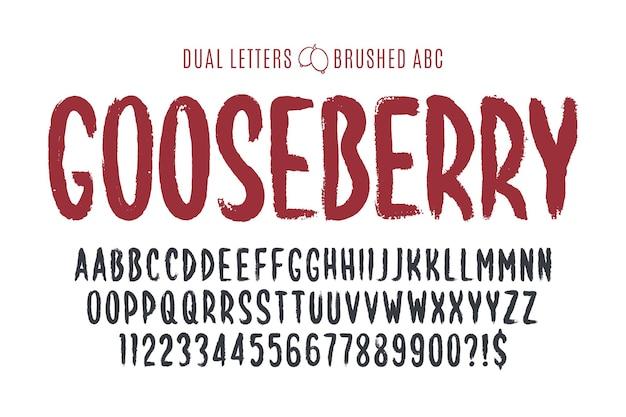 Стильной кистью нарисованы прописные векторные двойные буквы, алфавит, шрифт. оригинальная текстура краски. Premium векторы
