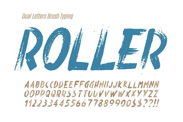 Стильной кистью нарисованы прописные векторные двойные буквы, алфавит, шрифт. оригинальная текстура.