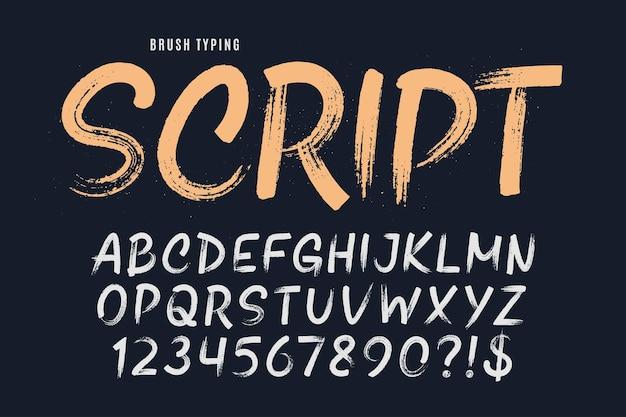 Стильной кистью нарисованы прописные векторные буквы, алфавит, шрифт. оригинальная текстура.
